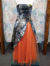Camouflage Camo Prom Dresses Strapless Front Split Evening Dresses Floor Length Wedding Dresses with Orange Tulle Formal Homecoming Gowns