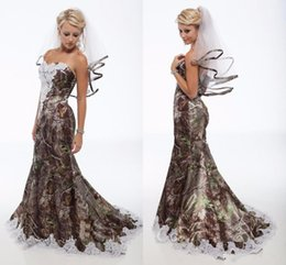 Lace Camo Wedding Dresses Trumpet Style Long Forest Camouflage Wedding Gowns Lace-edged Appliques Stylish Satin Bridal Dresses