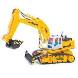 Wholesale Wireless Remote Control Toy Excavator Large Engineering Vehicles Digging Machine Truck Channel rotation Best Gift For Kid and Adult