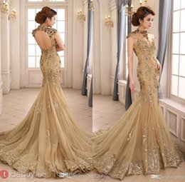 Wholesale 2016 Prom Dresses Party Evening Gowns High Neck Mermaid With Capped Sleeve Dress Backless Champagne Party Custom Made Plus Size Lace