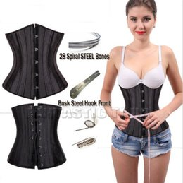 Wholesale Corset Full Steel Bone Waist Cincher Trainer Satin Corset Waist Training Corsets Underbust Plus Size Corset Modeling Strap XS XL