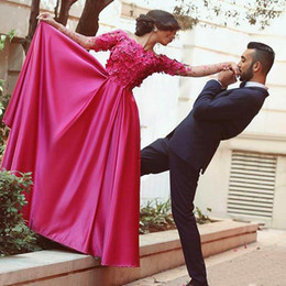 Fuchsia Long Evening Dresses Elegant Off Shoulder Long Sleeve A Line Floor Length Satin Flowers Applique Evening Gowns