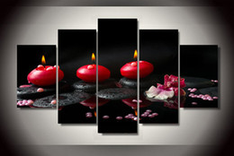 Wholesale 5 Panel Framed Printed Red Candles Group Painting children s room decor print poster picture canvas tableaux fleurs