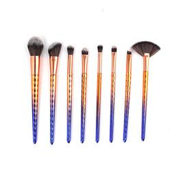 Mybasy 8pcs Gradient Color Handle Makeup Brushes Set Eyebrow Eyeshaow Blush Blending Makeup Brush Cosmetic Tool Kits