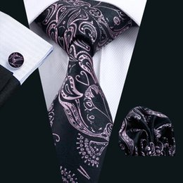 2017 lazo formal de color rosa Estampado de flores de color rosa corbata Conjunto Hombres Gemelos Hankerchief seda jacquard tejida de negocios formal corbata 8,5 cm Anchura Casual Set N-0291 lazo formal de color rosa outlet