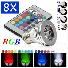 LED RGB Bulb 3W 16 Color Changing 3W LED Spotlights RGB led Light Bulb Lamp E27 GU10 E14 MR16 GU5.3 with 24 Key Remote Control 85-265V & 12V