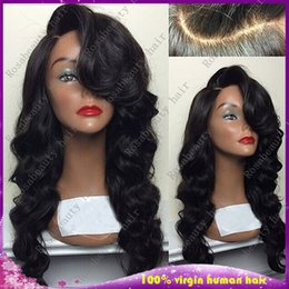 Wholesale Curly Hair Half Wigs Cheap - Cheap Human Hair Loose Wave Full Lace Human Hair Wigs Wtih Side Part Bangs Brazilian Glueless Lace Front Wigs
