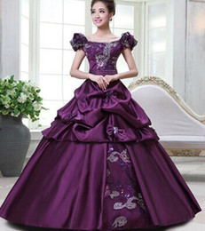 100%real purple golden floral Medieval Renaissance Gown queen Dress Victorian Gothic Marie Antoinette civil war Colonial Belle Ball