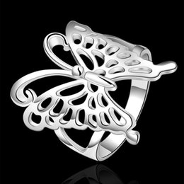 Wholesale Luxury new hot sell sterling Silver fashion charm retro Beautiful Cute pretty LADY women butterfly nice ring jewelry R540