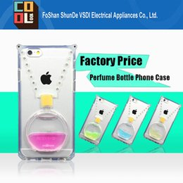 Wholesale Best Selling Clear Transparent Back Cover Soft TPU Case D Liquid Perfume Bottle Phone Cover Case Kickstand for iPhone6 plus