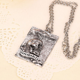 Wholesale Stallone necklace The Expendables skull tag square pendants necklaces for men statement jewelry movie jewelry