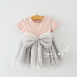 Wholesale Tutu dresses for girls summer new big bowknot toddler baby princess dresses short sleeve round collar children one piece dress ab1942