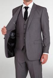 Wholesale 2016 Brand New Two Buttons Closure Collar Suits Bridegroom Tuxedos Best Man Suit Wedding Suit Jacket Pants Vest