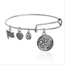 Wholesale Authentic ALEX AND ANI FRIEND Russian Gold Charm Bangle Expandable Bracelet Fast Ship Expandable Wire Bangle Bracelet for Women