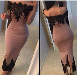 Ankle-length Long Sleeve Evening Dresses 2019 Off The Shoulder Black Lace Satin Arabic Formal Party Prom Gowns Women Pageant Gowns Hot Sale