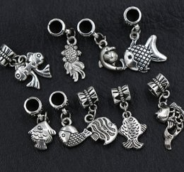 Wholesale New Styles Antique Silver Assorted Goldfish Fish Alloy Big Hole Dangle Beads Loose Bead Fit European Charm Bracelet
