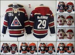 Wholesale Colorado Avalanche Nathan MacKinnon gabriel landeskog Cheap Hockey Hooded Stitched Old Time Hoodies Sweatshirt Jerseys