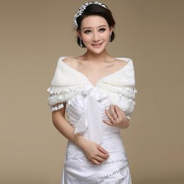 Wholesale Close Trimmer - 2015 winter white faux fur bridal wrap three layer lace trimmed wedding shawls for brides closed by bow sash