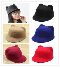 Wholesale Fashion Hot Vogue Winter Women Girl Wool Derby Devil Hat Cute Kitty Cat Ears Bowler Cap