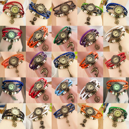 Wholesale New Arrivals Leather Hand Knit Vintage Watches bracelet Wrist watches Leaf Pendant Butterfly Leaf Owl Key Clover