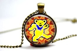 Wholesale 10pcs The Grateful Dead Bear vision Necklace Glass Photo Cabochon Necklace