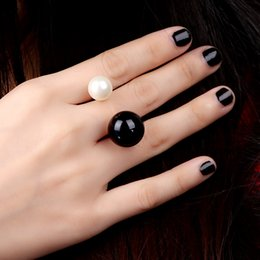 Wholesale 2015 Fashion Black White Adjustable Copper Metal Double faux Pearl designer Women s cuff finger rings bijoux anillos J0070