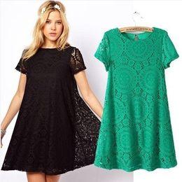 Wholesale -2015 spring and summer new European style sweet kaleidoscope lace loose short-sleeved dress big skirt dress women