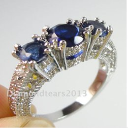 Retro Size 6-9 Jewelry 3stones 10kt white gold filled blue sapphire wedding Ring Gift