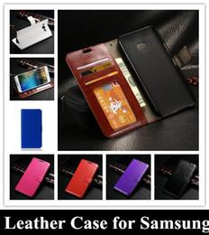 Crazy Horse Flip Wallet PU Leather Cover Money Card Pocket Photo Frame for Samsung galaxy S6 edge S6 A3 A5 A7 E5 E7 J5 J7 Note 4