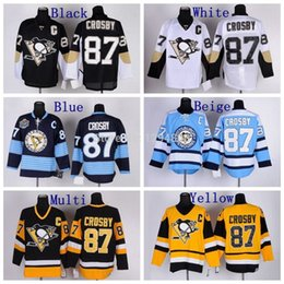 Factory Outlet, Pittsburgh Penguins Hockey Jerseys #87 Sidney Crosby Jersey Home Black Road White Alternate Navy Blue Third Light Blue Jerse