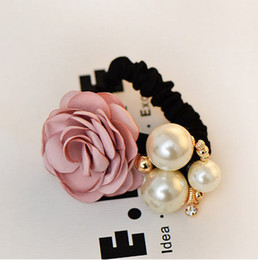 Wholesale Hot Sell Han Edition Hair Fashionable Joker Camellia Flower Cloth Art Handmade Beaded Pearl Rose Hair Rope Hair Bands In Stock