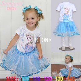 Frozen 3 peice Clothing frozen summer set girls set frozen elsa t shirt sky blue girls sequin tutu skirt lace leggings girls free shipping
