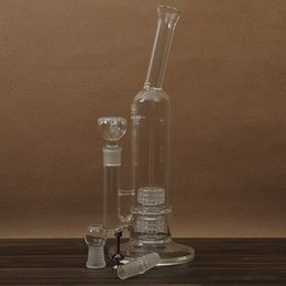 Wholesale Two Function Honeycomb Double turbine Ash Catcher Percolator Water Pipes mm Joint Glass Bong Hand Blown Bubble Hookahs Free Bowl Oil Rig