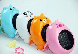 Wholesale 5pcs Heaters Fan Cat shape Best Gift Cartoon mini Heater fan Valentine gift W V with holder function