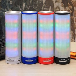 Wholesale LED Wireless Bluetooth Speaker Music USB SD iphone samsung MP3 FM Microphone Bright Subwoofer Built in battery ABS Speakerphones