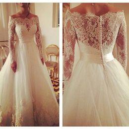 Long Sleeves Lace Wedding Dresses Vintage Bridal Gowns A Line Bateau Neck Covered Button Floor Length Plus Size Wedding Gowns Kissbrida