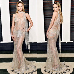 Wholesale 2016 Sexy Natasha Poly Vanity Fair Oscar Party in Beverly Hills See Through Rhinestones Luxurious Crystal Mermaid Evening Prom Dresses