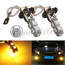 Free Shipping 4pcs lot H3 5050 SMD 9 LED Amber Yellow Car Auto Fog Headlight Daytime Runing Head Lights Bulb Lamp for DC 12V