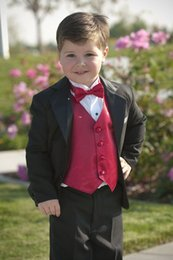 Wholesale 2016 Kid Boy Tuxedos Suits Clothing Custom Made Boys Wedding Events Suit Boy s Attire Groom Tuxedo Jacket Pants Vest Bow