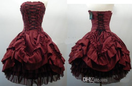 Wholesale 2015 Party Dresses Strapless Burgundy Gothic Short Ball Gown Lace Up Corset Layered Taffeta Wedding Dress Cocktail Homecoming dresses Cheap