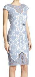 Embroidery Women Sheath Dress Short Sleeves Party Dresses 15051519E