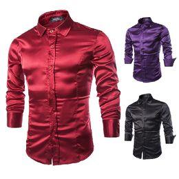 2016 Spring fashion Man Dress Shirts mens slim fit shirts long silk shiny shirts for men