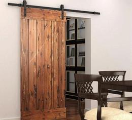 Wholesale Popular Wooden Sliding barn door hardware sliding track black rustic barn door hardware kit for apartment
