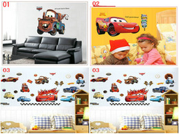 Wholesale Car Design Wall For Kids - Cartoon Car wall stickers Home Decor Removable PVC Kids room bedroom wallpaper Party Decoration Christmas Wall Art