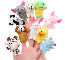 Wholesale Baby Plush Dolls Hand Puppet Baby Solft Plush Velour Animal Finger Puppet Lovely Cartoon Animal Finger Puppet