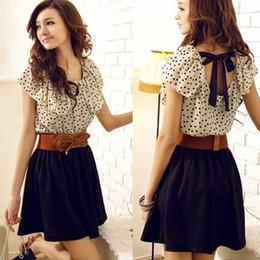 2014 Fashion Women Ladies Chiffon Dress Summer Short Dots Dresses Polka Backless Mini Dress With Belt