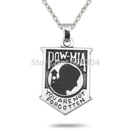 Wholesale Retail10Pcs Zinc Alloy Metal Plating POW MIA Flag Message Link Chain Necklaces