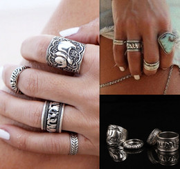 Wholesale Vintage Punk Ring Set Unique Carved Antique Silver Elephant Totem Leaf Lucky Rings for Women Boho Beach Jewelry R81