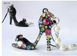 Wholesale hot sale Small accessories colorful crystal high heeled shoes beaded lanyards mobile phone chain