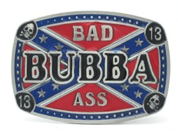 Wholesale Confederate Flag Bad Ass Bubba Lucky Skull Belt Buckle Rebel